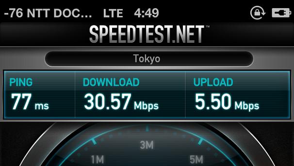 iPhone 5のXi通信スピードテスト