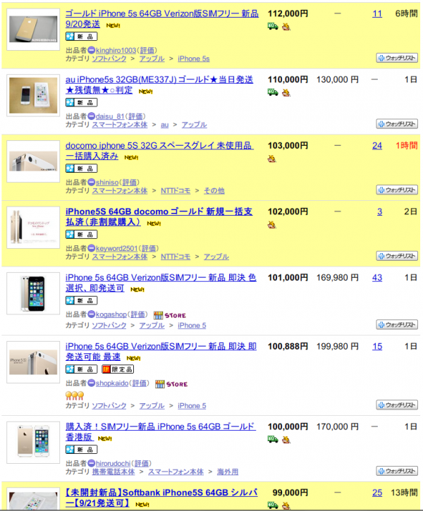 ヤフオクに出品されるiPhone 5s