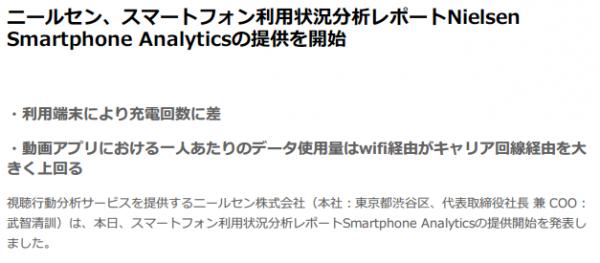 ニールセン、スマートフォン利用状況分析レポートNielsen Smartphone Analyticsの提供を開始