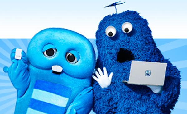 青いガチャピンとムック