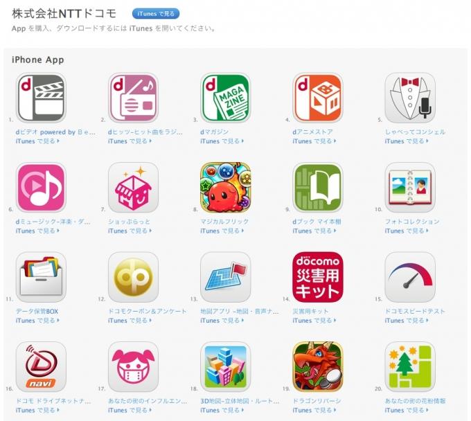 株式会社NTTドコモのアプリ