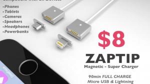 microUSBやLightningでもMagSafeのように磁力で取り外し可能にするコネクタ「ZAPTIP」