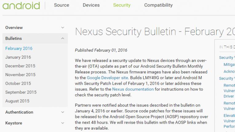 Nexus Security Bulletin - February 2016