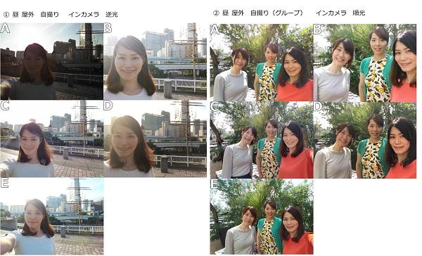 左)昼 屋外 自撮り インカメラ 逆光 右)昼 屋外 自撮り(グループ) インカメラ 順光