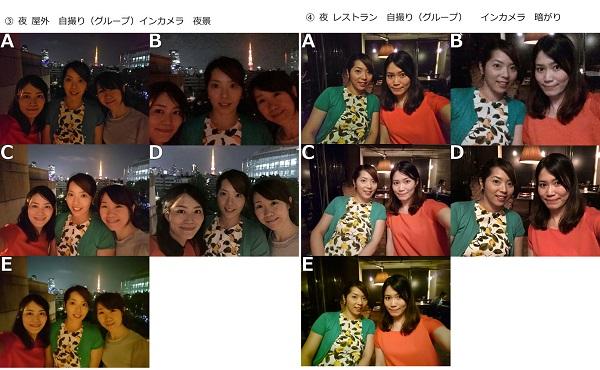 左)夜 屋外 自撮り(グループ) インカメラ 夜景 左)夜 レストラン 自撮り(グループ) インカメラ 暗がり