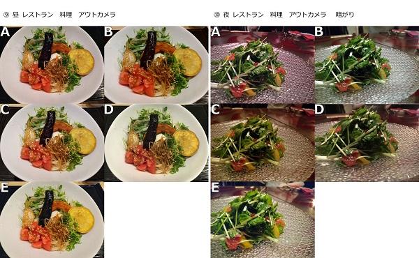 左)昼 レストラン 料理 アウトカメラ 左)夜 レストラン 料理 アウトカメラ 暗がり